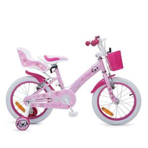 """Παιδικό Ποδήλατο 16"""" Byox Puppy, Καλαθάκι, 2η Θέση, Κουδουνάκι, Βοηθητικές - 4 έως 8 ετών - ροζ  (737.353.008)"""
