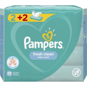 Pampers Fresh Clean Μωρομάντηλα, 4x52 τεμάχια