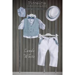 Ολοκληρωμένο πακέτο σετ βάπτισης αγόρι Piccolino  LANDO AG20S23  WHITE narlis.gr