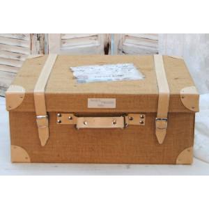 Βαλίτσα δερματίνη με λινάτσα (Κωδ.0018)  +15€ στο πακέτο βάπτισης