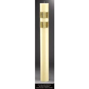 Λαμπάδα κερί στρογγυλό με χρυσή διακόσμιση 15x140cm κούφιο (Κωδ.2444500) (Η τιμή αφορά 2 Τεμάχια)