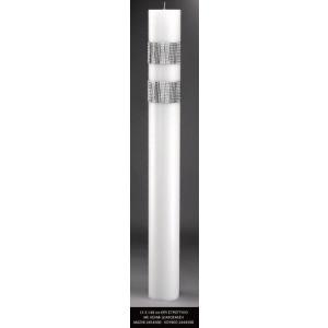 Λαμπάδα κερί στρογγυλό με ασημι διακόσμιση 15x140cm κούφιο (Κωδ.2444500) (Η τιμή αφορά 2 Τεμάχια)