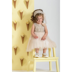 Ολοκληρωμένο πακέτο βάπτισηs με αυτό το φόρεμα (Vanessa Cardui Κωδ.VK130-110-250) Με το κουτί