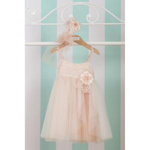 Ολοκληρωμένο πακέτο βάπτισηs με αυτό το Φόρεμα (Cotton Candy Κωδ.E-017-100-210) Δώρο το κουτί