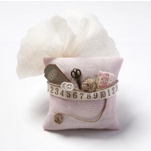Μαξιλαράκι ροζ γάζα  vintage στολισμένο 1402185
